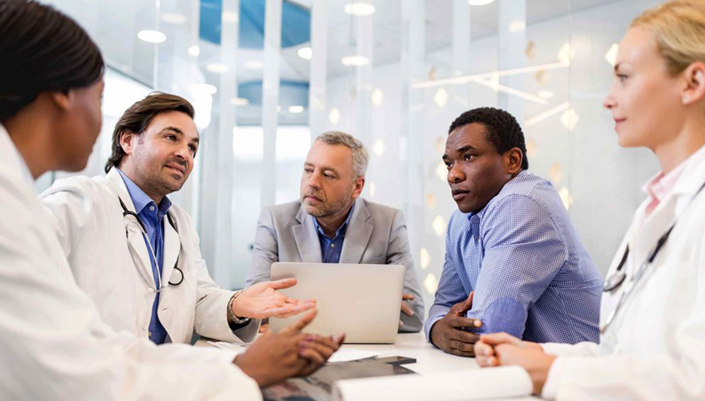 Dr David Katz Health Programs Page: Better Therapeutics - 5 health professionals of diverse backgrounds discuss at a round table