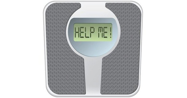 "Weight scale that displays ""Help Me!"" instead of weight"