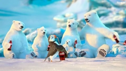 Polar bear family and a penguin smile and drink cokes in an arctic setting