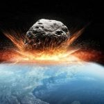 Asteroid hitting the Earth's atmosphere and bursting into flames