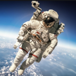 Astronaut floating in space with earth below