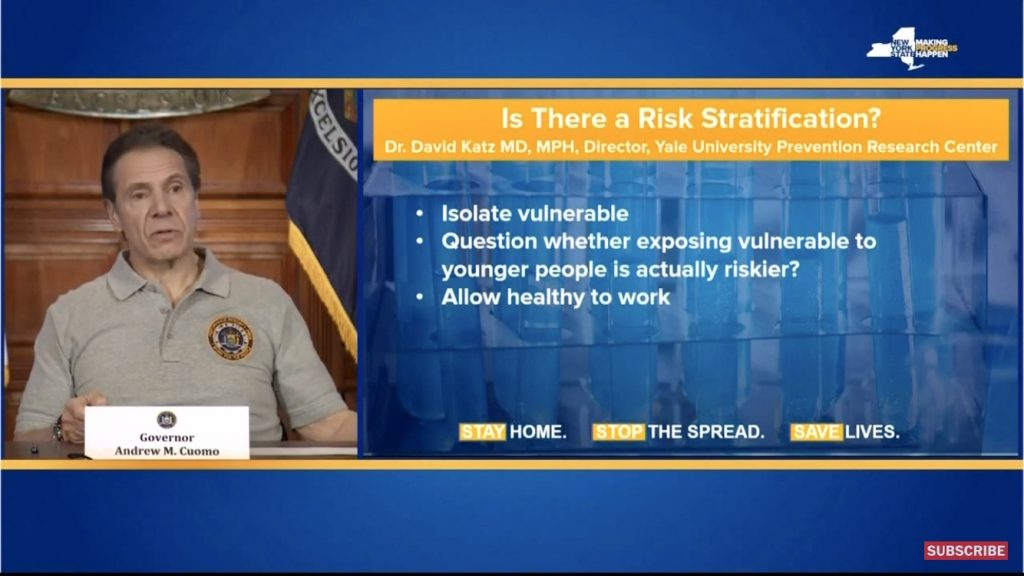 Gov. Andrew Cuomo of NY on left, outline of David Katz' Coronovirus Risk Interdiction on right.