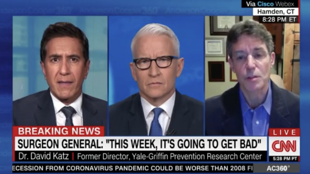 David L Katz MD on CNNs Anderson Cooper 2020-03-23. From left to right: Sanjay Gupta, Anderson Cooper, David L. Katz