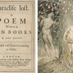 """Paradise Lost: A Poem Written in Ten Books by John Milton"" book cover on left, image of naked Adam and Eve under a beautiful tree on right."