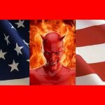 Devil on fire in front of a US flag