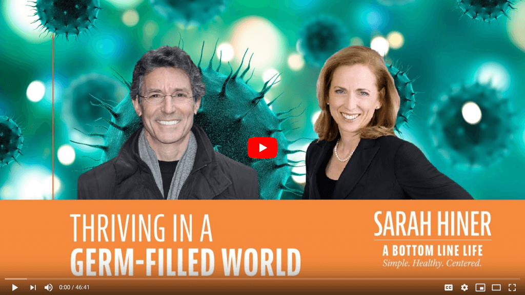 """Dr David Katz on the left and Sarah Hiner on the right, green background with Coronavirus molecules. Orange band below with """"Thriving in a germ-filled world"""" title."""