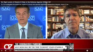 Dr. Oz interviews Dr. Katz on the effects of Vitamin D on the Coronavirus. Dr. Oz is on the left and Dr. Katz on the right.