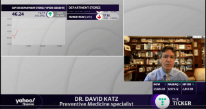 Seana Smith of Yahoo Finance asks Dr. Katz about the new CDC guidelines for reopening. Shown is Dr. Katz inset on right, stock ticker on left, Dr. Katz' title below