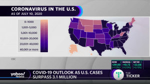 Map of Coronavirus cases in the US as of July 10, 2020
