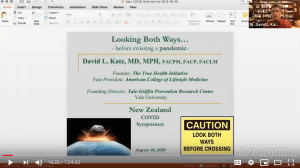 Dr. Katz' first slide at the Covid-19 Science and Policy Symposium Webinar New Zealand 8-17-20