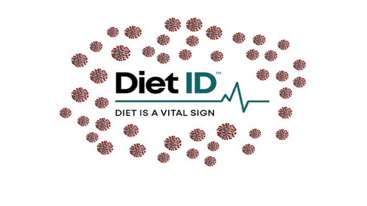 "Diet More Vital than Ever: Diet ID, ""Diet is a vital sign"" logo encircled in a couple dozen red covid molecules"