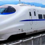 Sleek new white passenger train