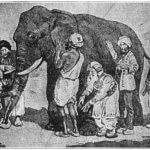 "Black and white image of the parable, ""The Blind Men and the Elephant."" 6 blind men probe various parts of an elephant for the very first time."