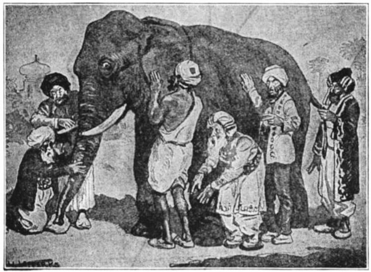 """Black and white image of the parable, """"The Blind Men and the Elephant."""" 6 blind men probe various parts of an elephant for the very first time."""