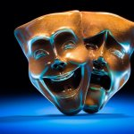 Two theatre masks - the smiling and the frowning.