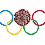 The Olympics symbol of 5 circles, with one change: a Covid molecule is substituted for the top center circle.